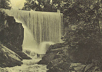 Merwin Falls, the site of Wilton's first grist mill in 1723. The grist mill and a later saw mill closed in 1902.