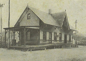 Wilton's first railroad station, built in 1852. It has been moved and preserved by the Wilton Historical Society and is currently in use as office space under the adaptive-use program.