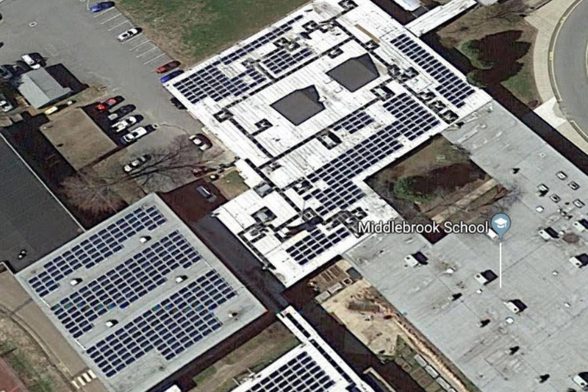 Solar Panels on roof of Middlebrook School