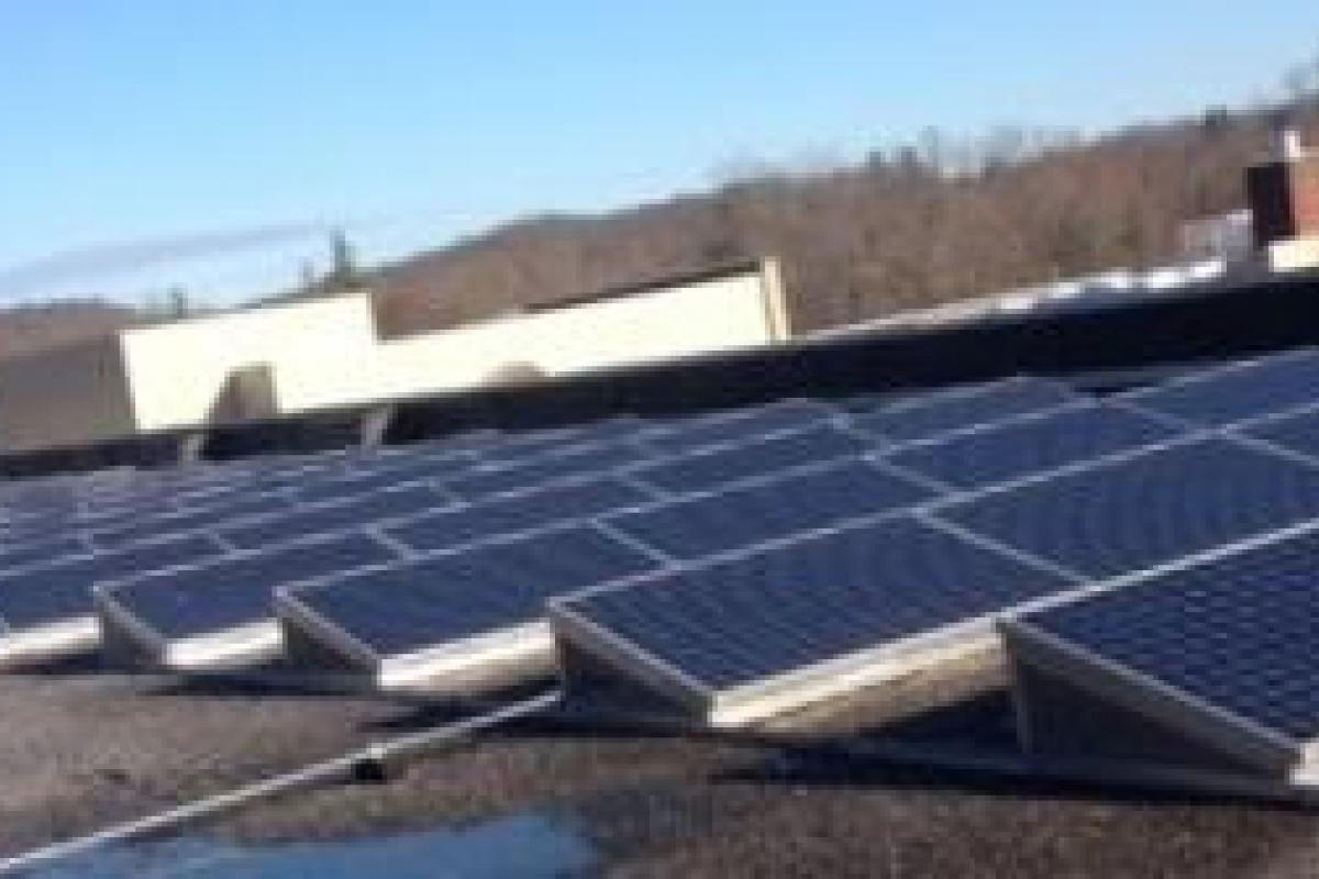 Solar panels on roof of Wilton High School